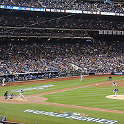 Pitcher Matt Harvey, pitching to Alcides Escobar, Kansas City Royals, during the New York Mets Vs Kansas City Royals, Game 5 of the MLB World Series at Citi Field, Queens, New York. USA. 1st November 2015. Photo Tim Clayton