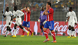 A dejected Dejan Stankovic (Serbia)  reacts after the  goal during the 2010 FIFA World Cup South Africa Group D match between Serbia and Ghana at Loftus Versfeld Stadium on June 13, 2010 in Pretoria, South Africa.