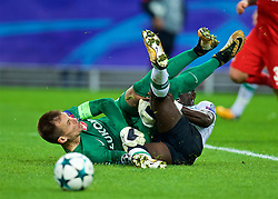 MOSCOW, RUSSIA - Tuesday, September 26, 2017: Liverpool's Sadio Mane and FC Spartak Moscow's goalkeeper Artem Rebrov clash during the UEFA Champions League Group E match between Spartak Moscow and Liverpool at the Otkrytie Arena. (Pic by David Rawcliffe/Propaganda)