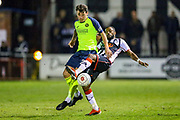 Havant & Waterlooville forward Alfie Rutherford battles with Maidenhead United defender Rene Steer during the Vanarama National League match between Maidenhead United and Havant & Waterlooville FC at York Road, Maidenhead, United Kingdom on 26 March 2019.