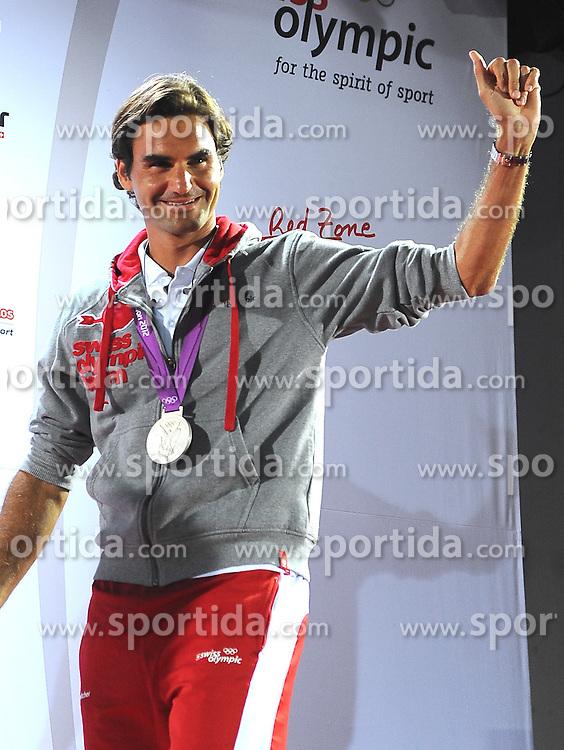 Olympics - London 2012 Olympic Games - Tennis - Men's Singles Final -Switzerland'S Roger Federer (SUI, silver) - , Wimbledon, England - 5/8/12.© pixathlon..+++ SWITZERLAND out!! +++