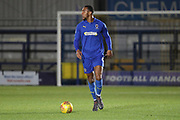 AFC Wimbledon defender Terell Thomas (6) dribbling during the EFL Trophy group stage match between AFC Wimbledon and Stevenage at the Cherry Red Records Stadium, Kingston, England on 6 November 2018.