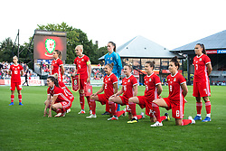 NEWPORT, WALES - Thursday, August 30, 2018: Wales line up for a team photo ahead of the FIFA Women's World Cup 2019 Qualifying Round Group 1 match between Wales and England at Rodney Parade. (Pic by Laura Malkin/Propaganda)