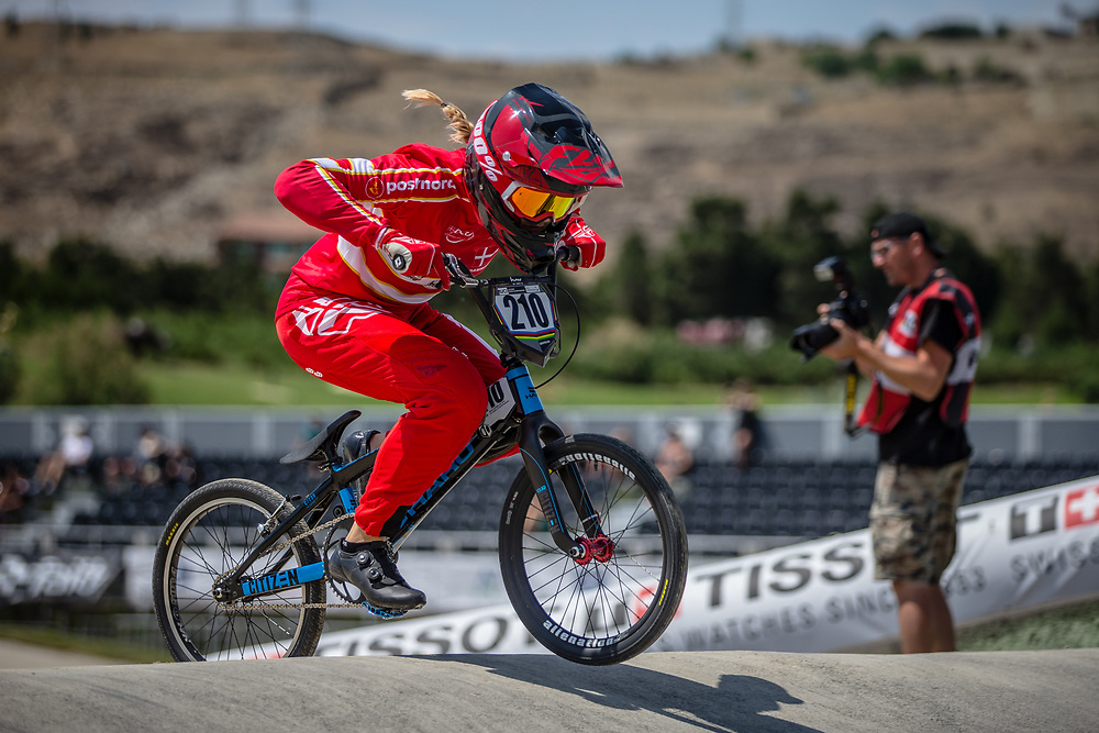 Women Elite #210 (CHRISTENSEN Simone Tetsche) DEN at the 2018 UCI BMX World Championships in Baku, Azerbaijan.