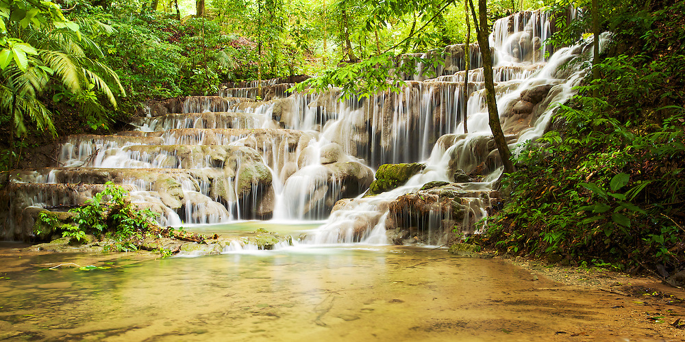 Cascading waters add to the wonder of the jungle in Chiapas, México.