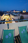 "Linz, Cultural Capital of Europe 2009. Panoramic view from the rooftop terrace of Hotel ""Zum schwarzen Baeren"" at dusk."