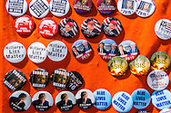 Jul 20, 2016; Cleveland, OH, USA; Political buttons for sale in downtown Cleveland at the site of the Republican National Convention.