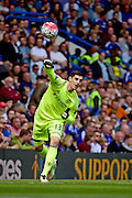 Chelsea Goalkeeper Thibaut Courtois (13) during the Barclays Premier League match between Chelsea and Leicester City at Stamford Bridge, London, England on 15 May 2016. Photo by Jon Bromley.
