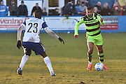 Barrow's Akil Wright (23) and Forest Green Rovers Dan Wishart(17)  during the Vanarama National League match between Barrow and Forest Green Rovers at Holker Street, Barrow, United Kingdom on 28 January 2017. Photo by Mark Pollitt.