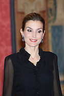 Queen Letizia of Spain and King Felipe VI of Spain attended a reception in honour of Chilean President at the El Pardo Palace on October 30, 2014 in Madrid, Spain