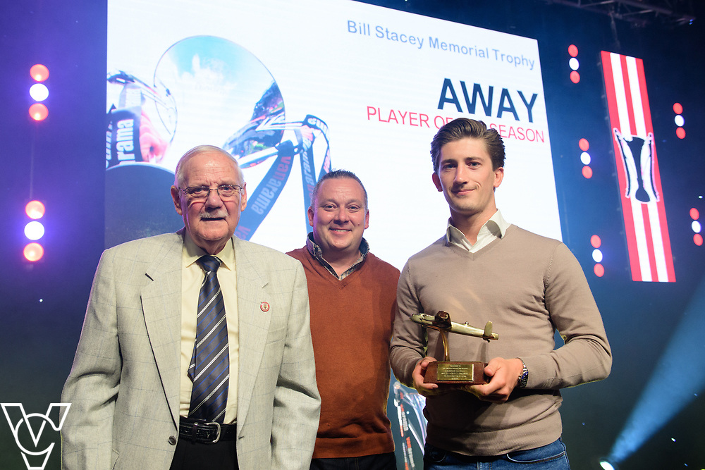 Lincoln City Football Club's 2016/17 End of Season Awards night - Championship Seasons Awards Dinner - held at the Lincolnshire Showground.<br /> <br /> AWAY PLAYER OF THE SEASON:  Members of the Stacey family present the away player of the season award to Alex Woodyard.<br /> <br /> Picture: Chris Vaughan Photography for Lincoln City Football Club<br /> Date: May 20, 2017