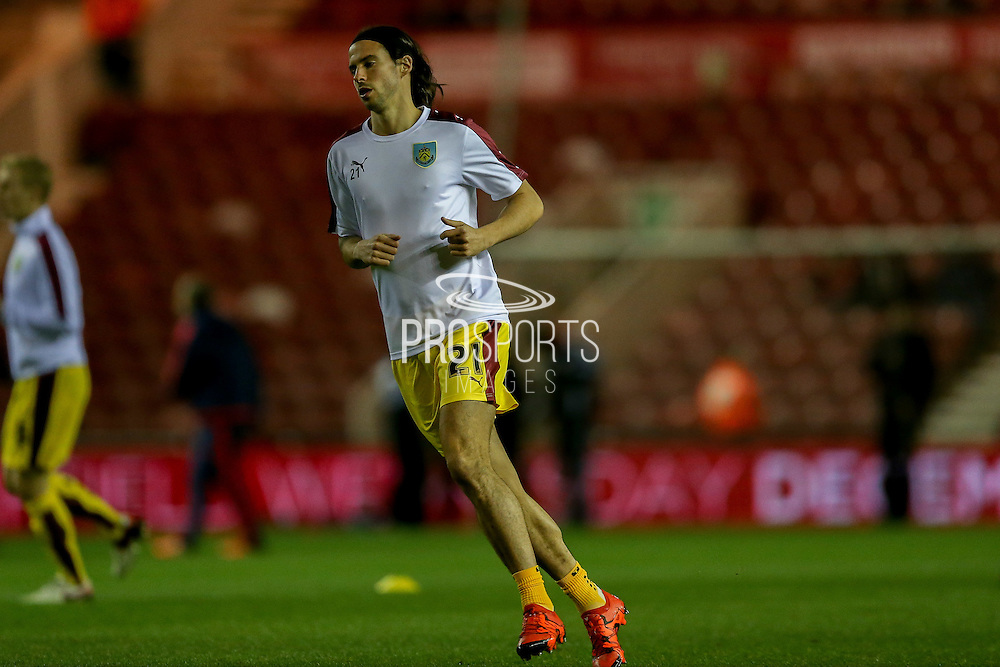 Burnley midfielder George Boyd  during the Sky Bet Championship match between Middlesbrough and Burnley at the Riverside Stadium, Middlesbrough, England on 15 December 2015. Photo by Simon Davies.