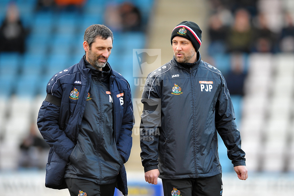 TELFORD COPYRIGHT MIKE SHERIDAN Altrincham manager Phil Parkinson (right) during the Vanarama Conference North fixture between AFC Telford United and Altrincham at The New Bucks Head on Saturday, February 1, 2020.<br /> <br /> Picture credit: Mike Sheridan/Ultrapress<br /> <br /> MS201920-044