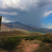 Distant storm along the Apache Trail - Arizona