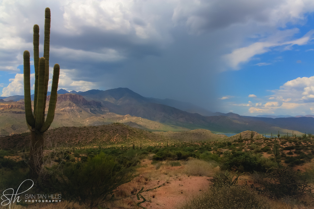 Distant storm along the Apache Trail - Arizona