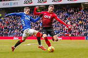 Ryan Kent lunges for the ball in the Kilmarnock penalty area during the Ladbrokes Scottish Premiership match between Rangers and Kilmarnock at Ibrox, Glasgow, Scotland on 16 March 2019.