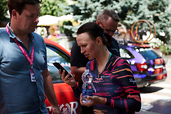 Kasia Niewiadoma (POL) checks the finishing times after Stage 6 of 2019 Giro Rosa Iccrea, a 12.1 km individual time trial from Chiuro to Teglio, Italy on July 10, 2019. Photo by Sean Robinson/velofocus.com