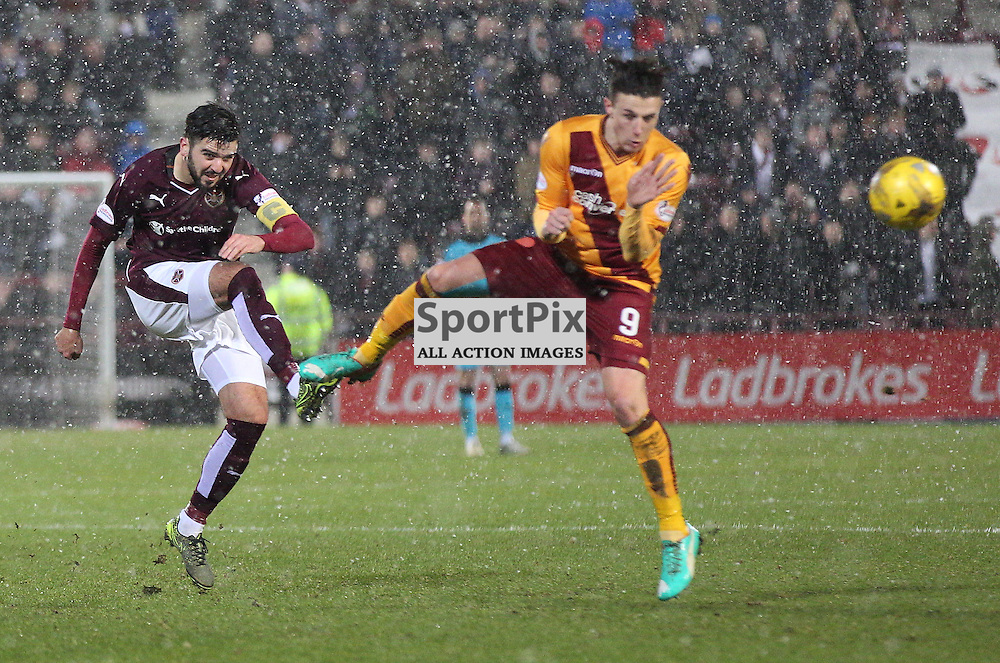 Hearts v Motherwell Scottish Premiership 16 January 2016; Alim &Ouml;zt&uuml;rk (Hearts, 5) shoots during the Heart of Midlothian v Motherwell Scottish Premiership match played at Tynecastle Stadium, Edinburgh; <br /> <br /> &copy; Chris McCluskie | SportPix.org.uk