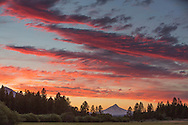 Sunset over the Cascades at Indian Ford Meadow near Sisters, Oregon.