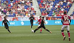 August 5, 2018 - Harrison, New Jersey, United States - Diego Rossi (9) of LAFC takes away ball during regular MLS game against Red Bulls at Red Bull Arena Red Bulls won 2 - 1  (Credit Image: © Lev Radin/Pacific Press via ZUMA Wire)