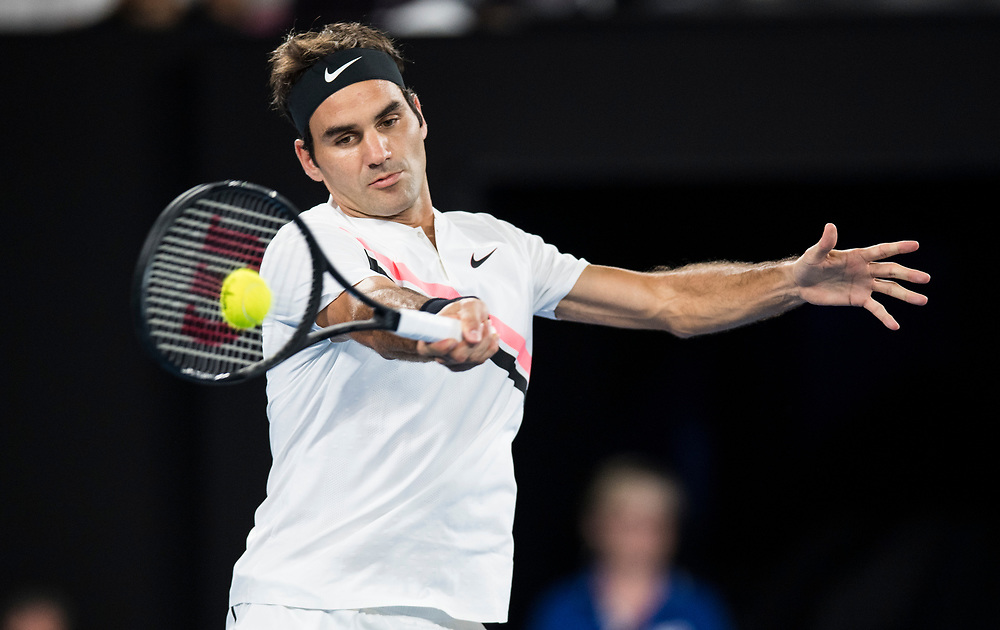Roger Federer of Switzerland during the 2018 Australian Open on day 12 in Melbourne, Australia on Friday night January 26, 2018.<br /> (Ben Solomon/Tennis Australia)
