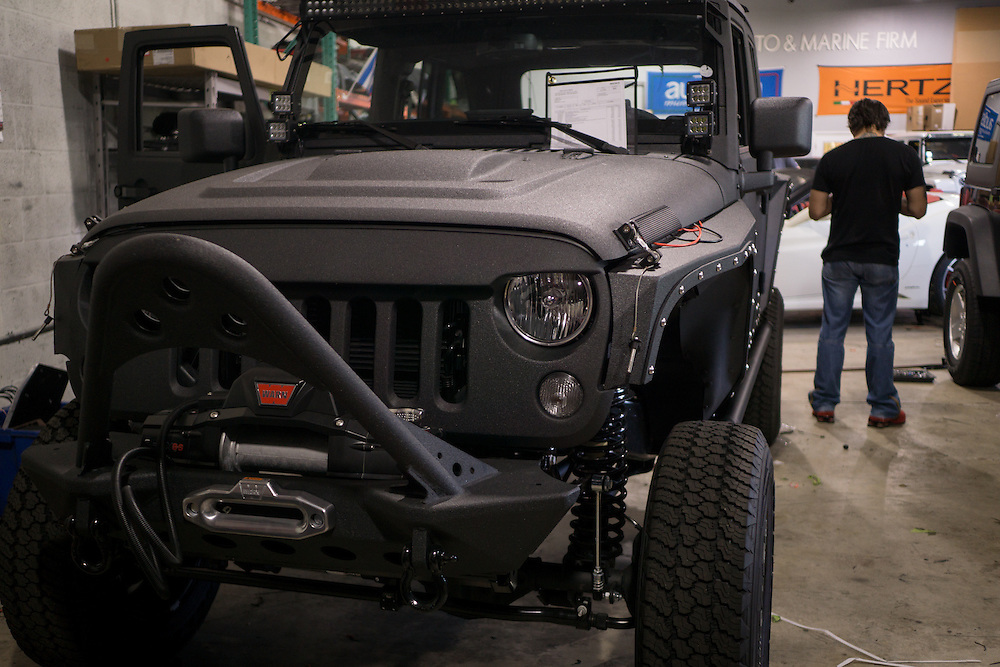 DORAL, FLORIDA, DECEMBER 11, 2015<br /> A customized Jeep Wrangler in the garage of The Auto Firm, a custom and restoration garage owned by Alex Vega which has a large clientele of professional athletes and entertainers.<br /> (Photo by Angel Valentin/Freelance)