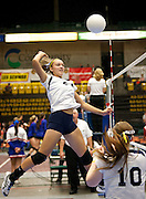 Sam Filiaga (2) of Bonneville goes up for a slam during the Utah State High School Volleyball 4A tournament match between Bonneville and Westlake, Friday, Nov. 2, 2012.
