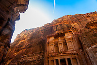 The Treasury monument (Al-Khazneh), Petra archaeological site (a UNESCO World Heritage site), Jordan.