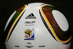 Jabulani official ball for the Algeria vs Slovenia June 13, 2010 match at Adidas central for FIFA World Cup 2010 on June 30, 2010 at Nelson Mandela Square in Sandton Convention Centre in Johannesburg. (Photo by Vid Ponikvar / Sportida)