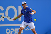 Steve Johnson (USA) returns a forehand during the semi-finals of Aegon Open at the Nottingham Tennis Centre, Nottingham, United Kingdom on 24 June 2016. Photo by Martin Cole.