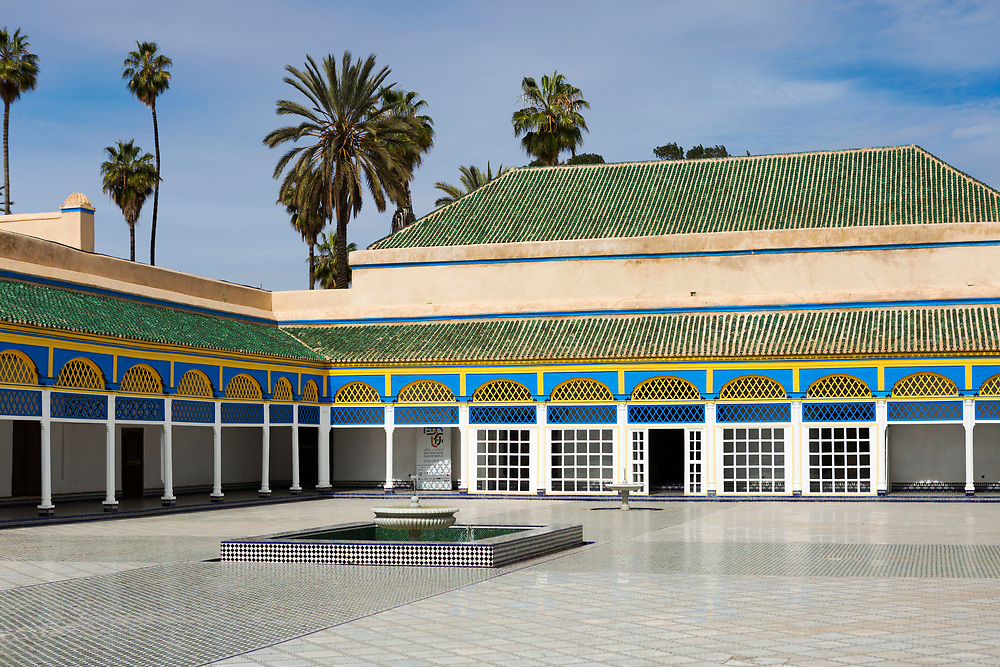 """Bahia Palace Riad Architecture, Marrakesh, Morocco, 2016–04-21.<br /><br />The name Bahia means """"brilliance"""" and the Bahia palace was built with the intention of being the most brilliant palace of its time. Built by two different generations - Si Moussa and his son, the overall design and layout is slightly random and unorganised. The materials used to make the intricate displays of zelij, ceramic and wood work through out the palace were sourced from across the Maghreb."""