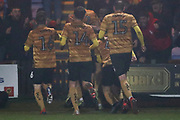 Crewe Alexandra midfielder Callum Ainley celebrate his goal with team-mates during the EFL Sky Bet League 2 match between Macclesfield Town and Crewe Alexandra at Moss Rose, Macclesfield, United Kingdom on 21 January 2020.