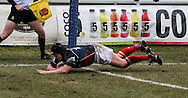 Adam Kwasnicki of London Scottish crosses the tryline during the Green King IPA Championship match between London Scottish &amp; Bristol at Richmond, Greater London on 7th February 2015<br /> <br /> Photo: Ken Sparks | UK Sports Pics Ltd<br /> London Scottish v Bristol, Green King IPA Championship, 7th February 2015<br /> <br /> &copy; UK Sports Pics Ltd. FA Accredited. Football League Licence No:  FL14/15/P5700.Football Conference Licence No: PCONF 051/14 Tel +44(0)7968 045353. email ken@uksportspics.co.uk, 7 Leslie Park Road, East Croydon, Surrey CR0 6TN. Credit UK Sports Pics Ltd
