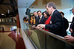 L-R The Hon. Gavin Jennings, MLC, Victorian Minister for Innovation; The Hon John Brumby, Premier of Victoria; Ms Catherine Walter, AM, Chairman Australian Synchrotron; and Prof. Robert Lamb, Facility Director, Australian Synchrotron on the mezzanine floor of the Australian Synchrotron.