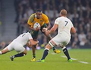 Tevita Kuridrani looks to break a tackle during the Rugby World Cup Pool A match between England and Australia at Twickenham, Richmond, United Kingdom on 3 October 2015. Photo by Ian Muir.during the Rugby World Cup Pool A match between England and Australia at Twickenham, Richmond, United Kingdom on 3 October 2015. Photo by Ian Muir.