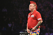 Peter Wright  losses another leg to Phil Taylor  during the Betway Premier League Darts at the Manchester Arena, Manchester, United Kingdom on 23 March 2017. Photo by Mark Pollitt.
