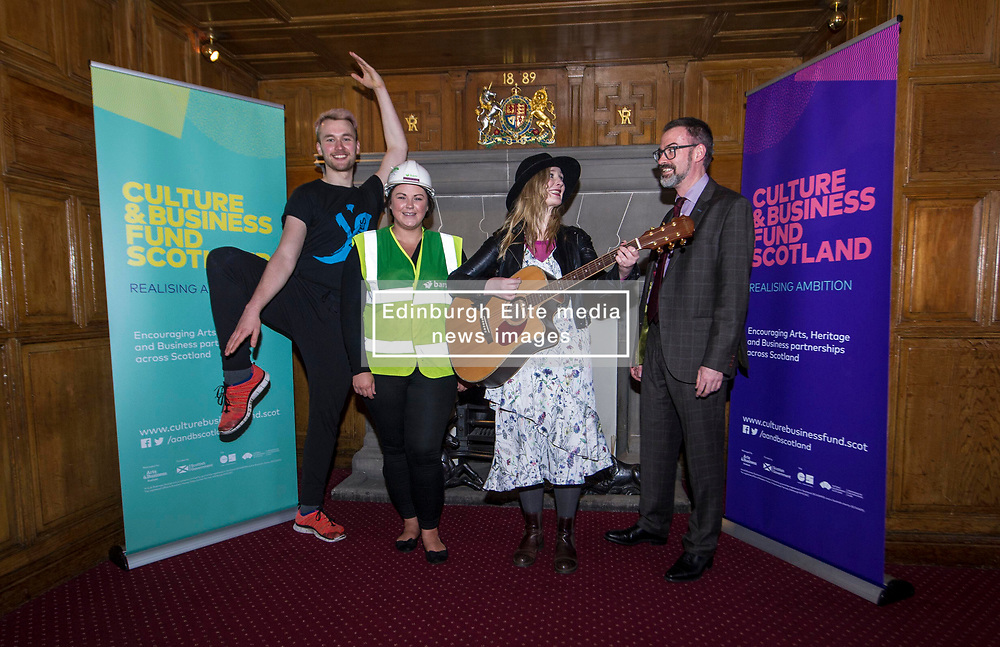 EMBARGOED UNTIL 00:01 3 APRIL 2017  FREE TO USE  FREE TO USE FREE TO USE<br /> Pictured: Sam Burkett, Y Dance, Laura Wilson, Bam Construction, Louise Quinn, Tromolo Productions, and Brain Inkster, Inkster Solicitors<br /> On Friday, Culture Secretary Fiona Hyslop visited Edinburgh Castle and launched the Culture & Business Fund Scotland. Funded by the Scottish Government via Creative Scotland and Historic Environment Scotland the fund will encourage the development of arts, heritage and business partnerships<br /> <br /> Ger Harley   EEm 31 March 2017