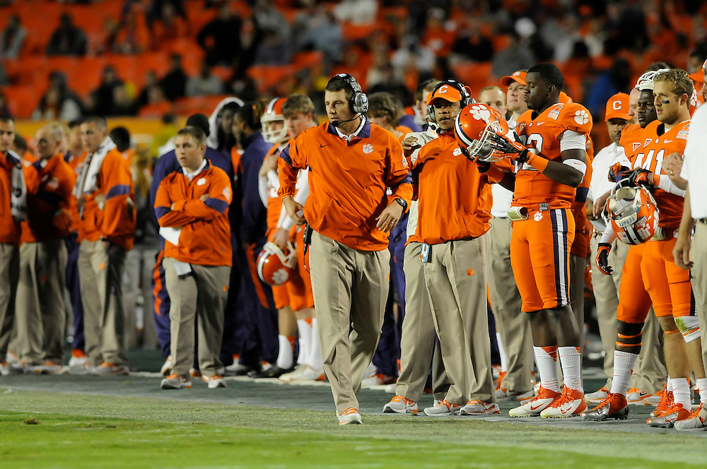 January 4, 2012: Head coach Dabo Swinney of Clemson in action during the NCAA football game between the West Virginia Mountaineers and the Clemson Tigers at the 2012 Discover Orange Bowl at Sun Life Stadium in Miami Gardens, Florida.