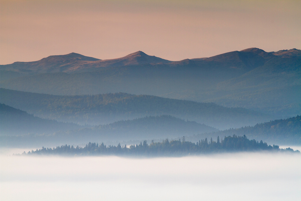 Mountain range in the Bieszczady National Park at sunrise, Lutowiska, Poland.