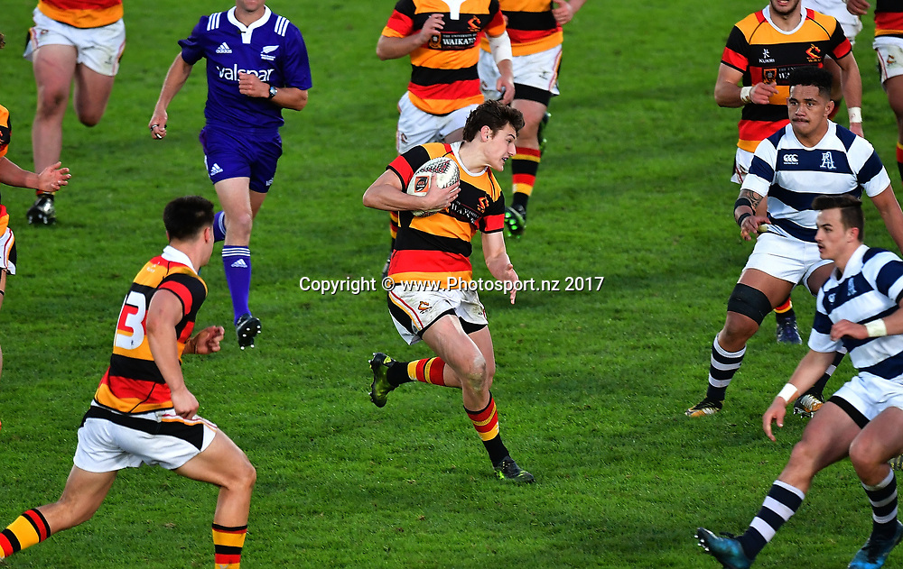 Waikatos Tom Jordan (C runs the ball during the Jock Hobbs Memorial trophy final rugby match between the Auckland and Waikato at Owen Delany Park in Taupo on Saturday the 16th September 2017. Copyright Photo by Marty Melville / www.Photosport.nz