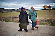 Tunisian women walking in the countryside