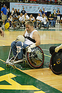 July 7th, 2006: Anchorage, AK - Gustave Sorenson rolls in for a score as White defeated Blue in the gold medal game of Quad Rugby at the 26th National Veterans Wheelchair Games.