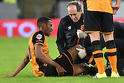 Hull City defender Isaac Hayden (20) receives treatment for injury  during the The FA Cup match between Hull City and Brighton and Hove Albion at the KC Stadium, Kingston upon Hull, England on 9 January 2016. Photo by Ian Lyall.