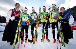 Fifth placed team of Slovenia: Andreja Mali, Teja Gregorin, Klemen Bauer and Jakov Fak during flower ceremony after the Mixed 2x6 + 2x7,5km relay of the e.on IBU Biathlon World Cup on Saturday, December 19, 2010 in Pokljuka, Slovenia. The fourth e.on IBU World Cup stage is taking place in Rudno polje - Pokljuka, Slovenia until Sunday December 19, 2010. (Photo By Vid Ponikvar / Sportida.com)