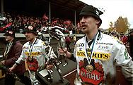 20.10.1996, Pietarsaari, Finland. .Veikkausliiga / Finnish League, FF Jaro v FC Jazz Pori..Ari-Pekka Roiko and captain Juha Riippa of FC Jazz celebrate winning the League Champioship..©JUHA TAMMINEN