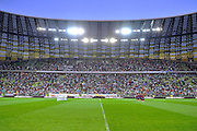 (L) Soccer team of Lechia Gdansk and (R) soccer team of FC Barcelona while minute of silence before friendly soccer match between Lechia Gdansk and FC Barcelona on PGE Arena Stadium in Gdansk, Poland.<br /> <br /> Poland, Gdansk, July 30, 2013<br /> <br /> Picture also available in RAW (NEF) or TIFF format on special request.<br /> <br /> For editorial use only. Any commercial or promotional use requires permission.<br /> <br /> Photo by &copy; Adam Nurkiewicz / Mediasport