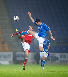 Ross County's Jackson Irvine and St Johnstone's Brian Graham. St Johnstone 2 v 1 Ross County, Scottish Premiership 22/11/2014 at St Johnstone's home ground, McDiarmid Park.