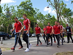 PARIS, FRANCE - Saturday, June 25, 2016: Wales' Sam Vokes, David Edwards, Hal Robson-Kanu, Neil Taylor and George Williams during a pre-match walk outside the Mövenpick Hotel Paris Neuilly ahead of the Round of 16 UEFA Euro 2016 Championship match against Northern Ireland. (Pic by David Rawcliffe/Propaganda)