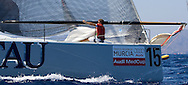 Dominguez Cristofer, bowman on board  Tau Ceramica-Andalucia during the practice race of the AUDI Medcup in Cartagena