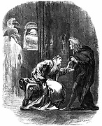 Shakespeare 'Hamlet' Act 3 Sc 4. Ghost of Hamlet's father appearing to him to remind him that he must take vengeance on his mother and uncle for their treachery. 19th century engraving.